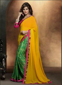 Elite Satin Green and Yellow Print Work Casual Saree