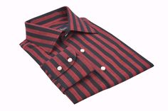 Red Black Bengal Stripes Linen - Bespoke Shirts by Luxire. Custom made to Perfection