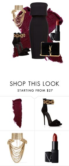 Untitled #22 by stylezbyniah on Polyvore featuring Giuseppe Zanotti, Yves Saint Laurent, Rosantica, Lipstick Queen, NARS Cosmetics, women's clothing, women's fashion, women, female and woman