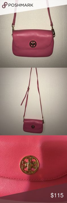 Tory Burch Crossbody This is a super cute pink Tory Burch crossbody! I purchased this for around 250. This is from a authorized retailer at the Millennia mall in Orlando Florida! It would also work as a clutch when the straps are taken off. The bright fun color would be super cute with any summer outfit and it's the perfect size to hold your phone and maybe a card holder. Any questions and let me know! Tory Burch Bags Crossbody Bags