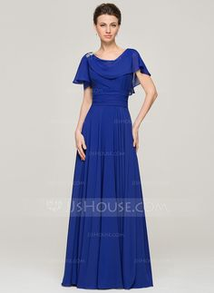 A-Line/Princess Scoop Neck Floor-Length Chiffon Mother of the Bride Dress With Ruffle Beading Sequins (008062573) - JJsHouse