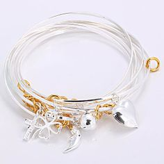 New Style 925 Sterling Silver Beauty 7-circle Charm Bracelets&Bangles