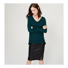 LOFT Fauxmere Sweater ($50) ❤ liked on Polyvore featuring tops, sweaters, deep turquoise melange, long sleeve v neck sweater, lightweight v neck sweaters, petite sweaters, side slit sweater and lightweight sweaters