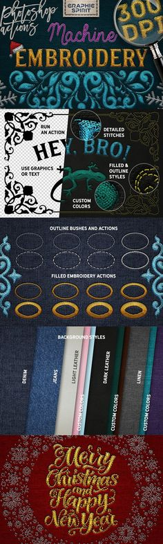Machine Embroidery Photoshop Actions by Graphic Spirit on @creativemarket