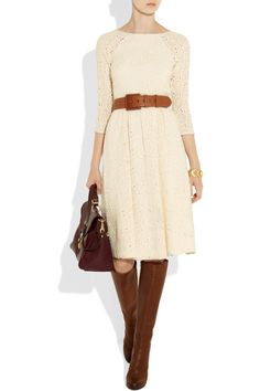 Embroidered cutout wool dress with boots