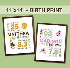 Birth Print for Boys and Girls - Custom Nursery Art. $22.00, via Etsy. (@Misha Hettie - seems like it's up your alley??)