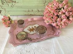 Exquisite Rose D'or Pink Porcelain Vanity Plate Tray Hand