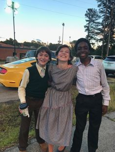 Noah Schnapp, Millie Bobby Brown, and Caleb McLaughlin Stranger Things Actors, Stranger Things Aesthetic, Stranger Things Funny, Stranger Things Season, Stranger Things Netflix, Millie Bobby Brown, Celebs, Celebrities, Best Shows Ever
