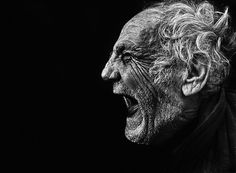 pain - old man screaming - black and white