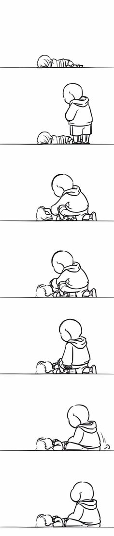 Frisk and Sans #comic- waiting for the world to reset.