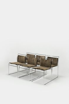 """Set of 6 chairs Designed by Japanese Kazuhide Takahama for the Italian company Gavina. The model """"Tulu"""" dates back to 1969. Very elegant chair through the light round steel frame, which is chromed. New seat and back cover made of brown gray velvet for comfortable sitting. The chairs can be stacked. Excellent vintage condition.... Brown And Grey, Gray, Steel Frame, Chair Design, Dates, Dining Chairs, Chrome, Velvet, Japanese"""