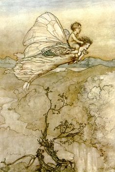 """... and her fairy sent / To bear him to my bower... """"A Midsummer-Night's Dream"""" (1908) illustrated by Arthur Rackham (Act IV, Scene I)."""