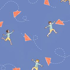 Sarah Jane - Children at Play Flannel - Chasing Airplanes in Blue