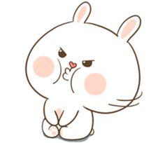TuaGom : Puffy Bear & Rabbit by Tora Jung sticker Cute Bunny Cartoon, Kawaii Bunny, Cute Cartoon Images, Cute Cartoon Characters, Cute Cartoon Wallpapers, Cute Love Memes, Cute Love Gif, Funny Cute, Cute Bear Drawings