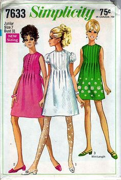 """vintage sewing patterns Simplicity 7633 - """"junior miss"""" vintage pattern. made several of them - Vintage pattern - old new stock from old department store in Mt. Moda Vintage, Vintage Mode, Vintage Outfits, Vintage Dresses, Vintage Dress Patterns, Clothing Patterns, 1960s Fashion, Vintage Fashion, Patron Vintage"""