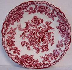 """CROWN DUCAL BRISTOL PINK RED 5 3/4"""" Tea Cup Saucer (s)  **Free Ship**"""