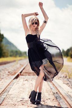 Shop this look on Kaleidoscope (dress, boots, sunglasses, bracelet)  http://kalei.do/WBdXm1q8igxoEjBY
