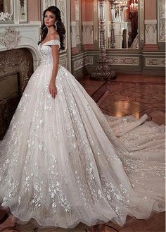3c2f31c34bb6 Buy discount Fascinating Tulle  amp  Lace Off-the-shoulder Neckline Ball  Gown Wedding
