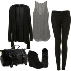 I love how simple this is. I'd fall over in the shoes, but I love that this is casual enough to be comfortable, but dressy enough for work. black liquid leggings, loose/flow-y grey tank, and a black sheer cardigan thrown on top. great outfit for fall Mode Outfits, Casual Outfits, Fashion Outfits, Womens Fashion, Black Outfits, Fashion Wear, Fashion Tips, Fall Winter Outfits, Autumn Winter Fashion