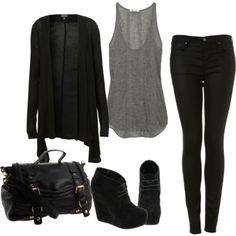 Black + gray + skinnies + rock roll