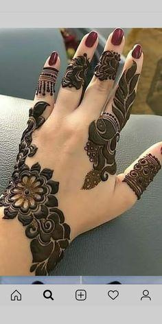 Simple & Elegant leafy design for a lovely hands 2019 Henna Hand Designs, Dulhan Mehndi Designs, Mehndi Designs Finger, Modern Henna Designs, Khafif Mehndi Design, Mehndi Designs For Beginners, Mehndi Designs For Girls, Mehndi Design Pictures, Wedding Mehndi Designs