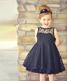 Loving this Black Lace A-Line Dress - Toddler & Girls on #zulily! #zulilyfinds