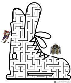 Winter Olympics Printables. Hockey skate shaped maze from PrintActivities.com