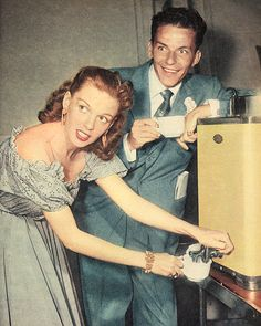 Judy Garland and Frank Sinatra ~ 1946. Frank is sporting some crazy eyes over there.