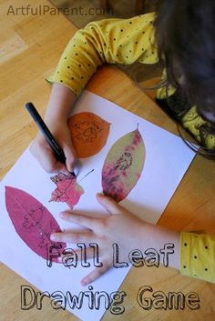 This fall leaf drawing game for kids combines two favorites -- Simon Says Drawing and leaf drawing and doodling -- into one fun Autumn drawing game.