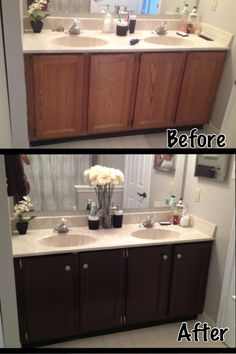 Painted Bathroom Cabinets Before And After painting bathroom cabinets | painting honey oak cabinets, honey