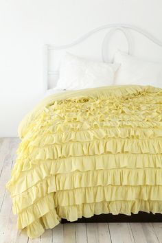 Ruffle yellow duvet cover