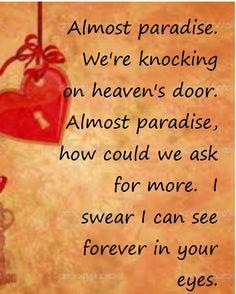 Almost Paradise - song lyrics, music lyrics, song quotes