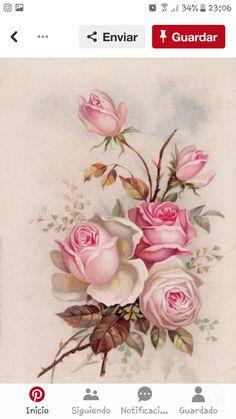 Paper Napkins for Decoupage Craft - Vintage Sagen Amore Roses Floral Vintage, Deco Floral, Vintage Flowers, Vintage Prints, Floral Prints, Vintage Cards, Vintage Paper, Vintage Postcards, Vintage Images