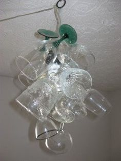 Condo Blues: How to Make a Wine Glass Chandelier Wine Glass Chandelier, Hanging Chandelier, Hanging Lights, Small Lamp Shades, Small Lamps, Wire Lampshade, Sherry Glasses, Wine Glass Crafts, Expensive Wine