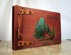 Vintage 1960's Wood Photo Album with Leather Binding - Sequoia National Park