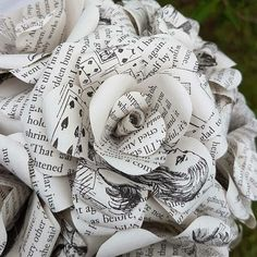 Alice in wonderland upcycled Book Bouquets. By Novel Hearts