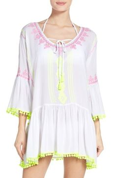 a10eef0458 Rank & Style - Surf Gypsy Embroidered Pom Pom Dress Swim Cover Up