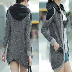 Korean Fashion Women's Zipper Slim Casual Jacket Hoodie Outerwear Coat Trench