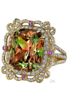 Erica Courtney Picture Frame Ring ~   Csarite, Diamonds, Pink Diamonds | Purely Inspiration