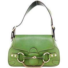 6a6b79dab5aa Pre-Owned Gucci Green Leather Tom Ford Gold Horsebit Flap Bag ($625) ❤