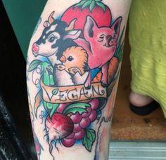 Farm animals vegan tattoo