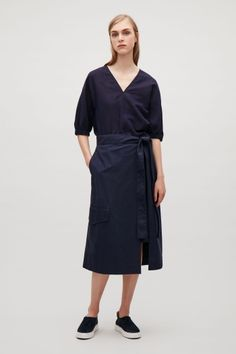 COS image 1 of Top with gathered kimono sleeve in Navy