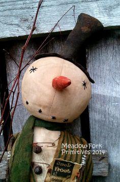 Primitive Folk Art Snowman Doll MakeDo Jack by MeadowForkPrims