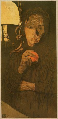 Käthe Kollwitz (1867-1945), Woman with Orange (1901), colour etching, aquatint, and lithograph on paper mounted on grey-violet card, 16 x 27.9 cm (image). Via animus-inviolabilis.