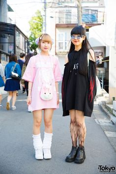 Miwa and Riko - both 19 - on the street in Harajuku wearing handmade items along with fashion from Drinkscancode, 2.Xjigen, Avantgarde, Candye Syrup, and UNIF.