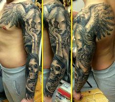 amazing tattoo - angel Aa Tattoos, Forarm Tattoos, Music Tattoos, Body Art Tattoos, Tattoos For Guys, Tattoo Arm, Angel Sleeve Tattoo, Angel Tattoo Men, Sleeve Tattoos