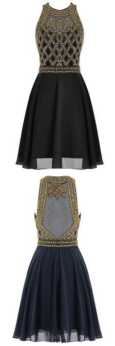 Short Homecoming Dresses, Black Prom Dresses, Chiffon Cocktail Dress, Beautiful Graduation Dresses, Modest Party Gowns