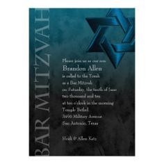 Bar Mitzvah Black and Teal Grunge Custom Announcement