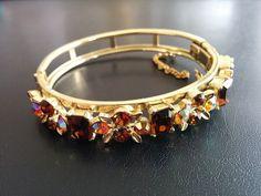 Signed LISNER Vintage Bracelet Flower Brown AB Rhinestone Gold Tone 3259