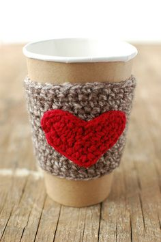 Coffee Cup cozy with red heart by The Cozy by thecozyproject